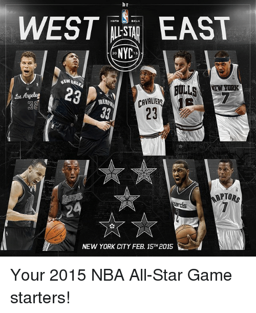 NBA All-Star Game: br  WEST EAST  NYC  NEWYORK  itsAngeles  CAVALER  MEND  ARTORs  NEW YORK CITY FEB 15TH2015 Your 2015 NBA All-Star Game starters!