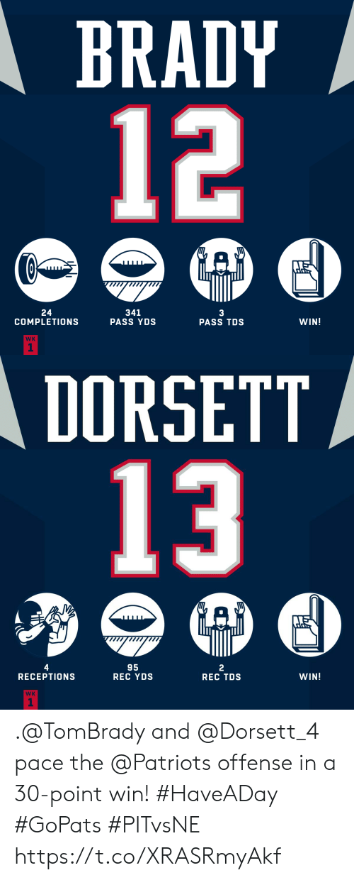 offense: BRADY  12  24  COMPLETIONS  341  PASS YDS  3  PASS TDS  WIN!  WK  1   DORSETT  13  4  95  REC YDS  2  REC TDS  RECEPTION  WIN!  WK  1 .@TomBrady and @Dorsett_4 pace the @Patriots offense in a 30-point win! #HaveADay #GoPats  #PITvsNE https://t.co/XRASRmyAkf