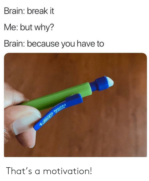it-me: Brain: break it  Me: but why?  Brain: because you have to  Pencil 2  B1C 6.9mm That's a motivation!