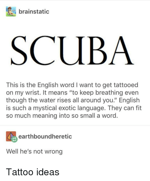 """scuba: brainstatic  SCUBA  This is the English word I want to get tattooed  on my wrist. It means """"to keep breathing even  though the water rises all around you."""" English  is such a mystical exotic language. They can fit  so much meaning into so small a word  earthboundheretic  Well he's not wrong Tattoo ideas"""