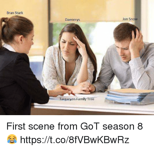Family, Memes, and Jon Snow: Bran Stark  Daenerys  Jon Snow  Targaryen Family Tree First scene from GoT season 8 😂 https://t.co/8fVBwKBwRz