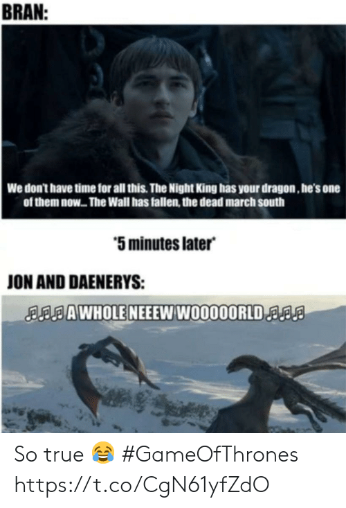 Memes, True, and Time: BRAN  We don't have time for all this. The Night King has your dragon, he's one  of them now... The Wall has fallen, the dead march south  5 minutes later  ON AND DAENERYS:  AAWHOLE NEEEW W0000ORLDa So true 😂 #GameOfThrones https://t.co/CgN61yfZdO