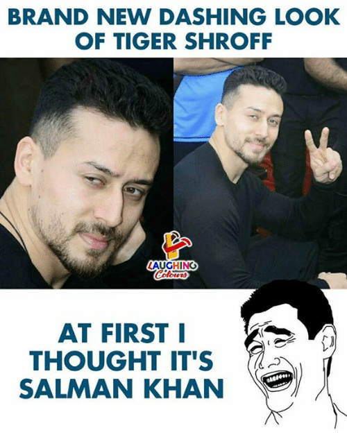 Tiger, Salman Khan, and Thought: BRAND NEW DASHING LOOK  OF TIGER SHROFF  AUGHING  AT FIRST I  THOUGHT IT'S  SALMAN KHAN