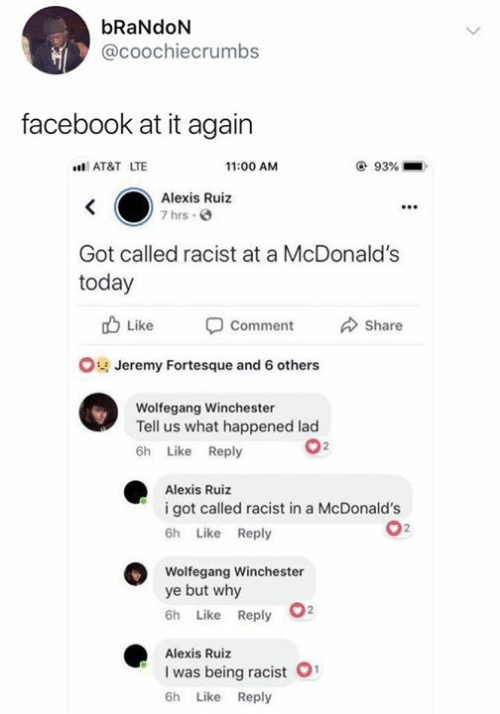 Facebook, McDonalds, and At&t: bRaNdON  @coochiecrumbs  facebook at it again  AT&T LTE  11:00 AM  93%  Alexis Ruiz  7 hrs  Got called racist at a McDonald's  today  Like -Comment Share  Jeremy Fortesque and 6 others  Wolfegang Winchester  Tell us what happened lad  6h Like Reply  Alexis Ruiz  i got called racist in a McDonald's  6h Like Reply  Wolfegang Winchester  ye but why  6h Like Reply  Alexis Ruiz  I was being racist  6h Like Reply