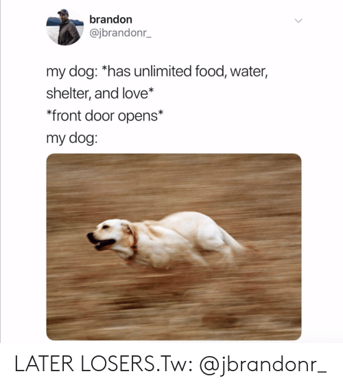 Food, Love, and Water: brandon  @jbrandonr_  my dog: *has unlimited food, water,  shelter, and love*  *front door opens*  my dog: LATER LOSERS.Tw: @jbrandonr_