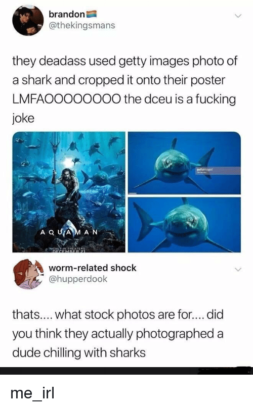 Dude, Fucking, and Shark: brandon  @thekingsmans  they deadass used getty images photo of  a shark and cropped it onto their poster  LMFAOOOooO0O the dceu is a fucking  joke  worm-related shock  hupperdook  thats.... what stock photos are for....did  you think they actually photographed a  dude chilling with sharks