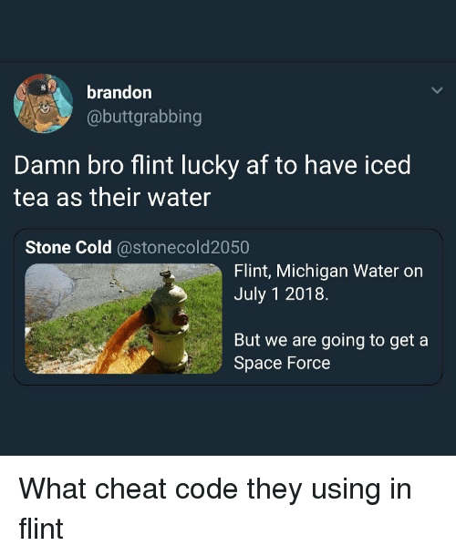 Iced Tea: brandor  @buttgrabbing  Damn bro flint lucky af to have iced  tea as their water  Stone Cold @stonecold2050  Flint, Michigan Water on  July 1 2018.  But we are going to get a  Space Force What cheat code they using in flint