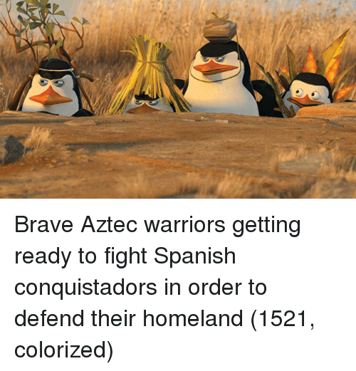 Homeland: Brave Aztec warriors getting ready to fight Spanish conquistadors in order to defend their homeland (1521, colorized)