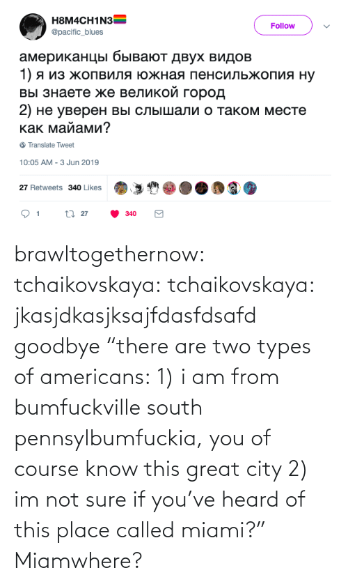 "If You: brawltogethernow: tchaikovskaya:  tchaikovskaya: jkasjdkasjksajfdasfdsafd goodbye ""there are two types of americans: 1) i am from bumfuckville south pennsylbumfuckia, you of course know this great city 2) im not sure if you've heard of this place called miami?""  Miamwhere?"