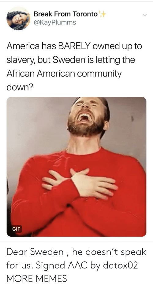 slavery: Break From Toronto  @KayPlumms  America has BARELY owned up to  slavery, but Sweden is letting the  African American community  down?  GIF Dear Sweden , he doesn't speak for us. Signed AAC by detox02 MORE MEMES