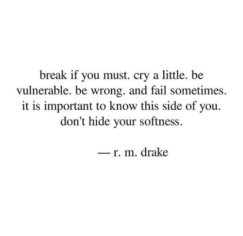 Drake, Fail, and Break: break if you must. cry a little. be  vulnerable, be wrong. and fail sometimes.  it is important to know this side of you.  don't hide your softness.  r. m. drake
