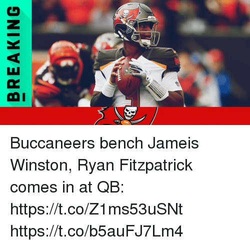 jameis winston: BREAKING Buccaneers bench Jameis Winston, Ryan Fitzpatrick comes in at QB: https://t.co/Z1ms53uSNt https://t.co/b5auFJ7Lm4