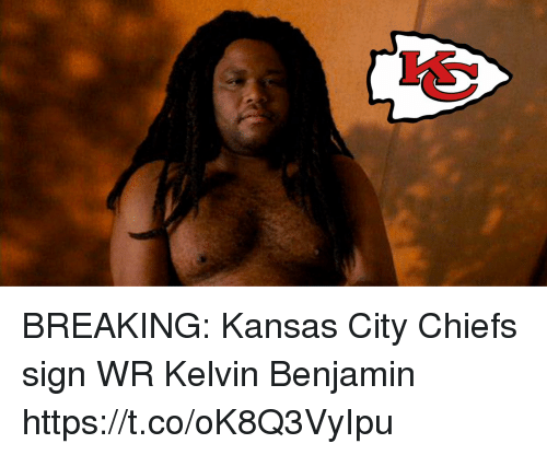 Football, Kansas City Chiefs, and Nfl: BREAKING: Kansas City Chiefs sign WR Kelvin Benjamin https://t.co/oK8Q3VyIpu