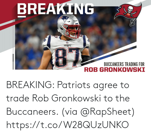 Rob: BREAKING: Patriots agree to trade Rob Gronkowski to the Buccaneers. (via @RapSheet) https://t.co/W28QUzUNKO