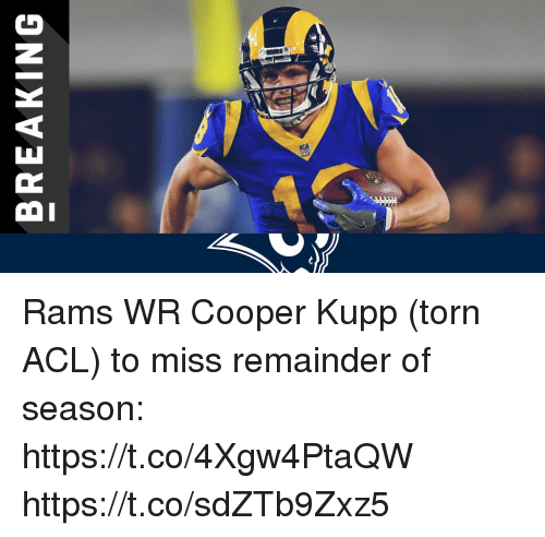 Memes, Rams, and 🤖: BREAKING Rams WR Cooper Kupp (torn ACL) to miss remainder of season: https://t.co/4Xgw4PtaQW https://t.co/sdZTb9Zxz5