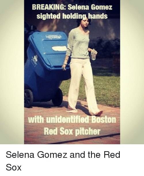 Mlb, Selena Gomez, and Boston Red Sox: BREAKING: Selena Gomez  sighted holding hands  with unidentified Boston  Red Sox pitcher Selena Gomez and the Red Sox
