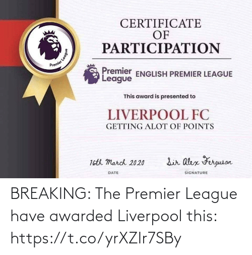 breaking: BREAKING: The Premier League have awarded Liverpool this: https://t.co/yrXZIr7SBy