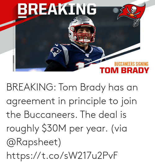 Roughly: BREAKING: Tom Brady has an agreement in principle to join the Buccaneers. The deal is roughly $30M per year. (via @Rapsheet) https://t.co/sW217u2PvF
