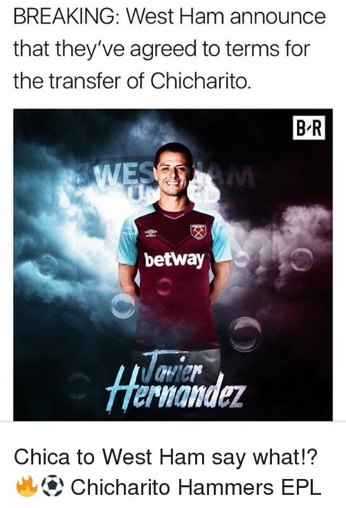Memes, Chicharito, and 🤖: BREAKING: West Ham announce  that they've agreed to terms for  the transfer of Chicharito.  B-R  betway  Ta  Hermander Chica to West Ham say what!? 🔥⚽️ Chicharito Hammers EPL