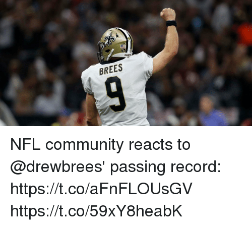 Community, Memes, and Nfl: BREES NFL community reacts to @drewbrees' passing record: https://t.co/aFnFLOUsGV https://t.co/59xY8heabK
