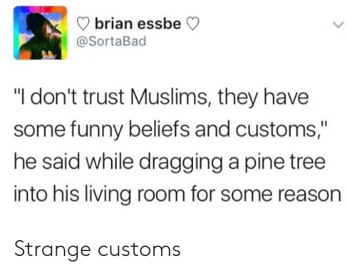 """Funny, Tree, and Living: brian ess  @SortaBad  beCV  """"I don't trust Muslims, they have  some funny beliefs and customs,""""  he said while dragging a pine tree  into his living room for some reason Strange customs"""