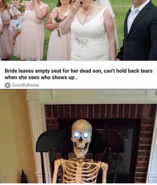 Back, Her, and Who: Bride leaves empty seat for her dead son, can't hold back tears  when she sees who shows up...  Goodfullness