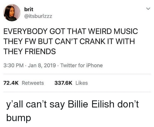 Friends, Iphone, and Music: brit  @itsburlzzz  EVERYBODY GOT THAT WEIRD MUSIC  THEY FW BUT CAN'T CRANK IT WITH  THEY FRIENDS  3:30 PM Jan 8, 2019 Twitter for iPhone  72.4K Retweets  337.6K Likes y'all can't say Billie Eilish don't bump