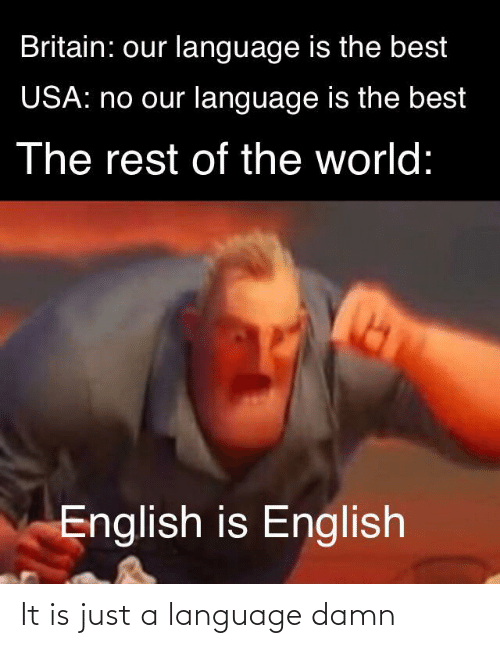 usa: Britain: our language is the best  USA: no our language is the best  The rest of the world:  English is English It is just a language damn