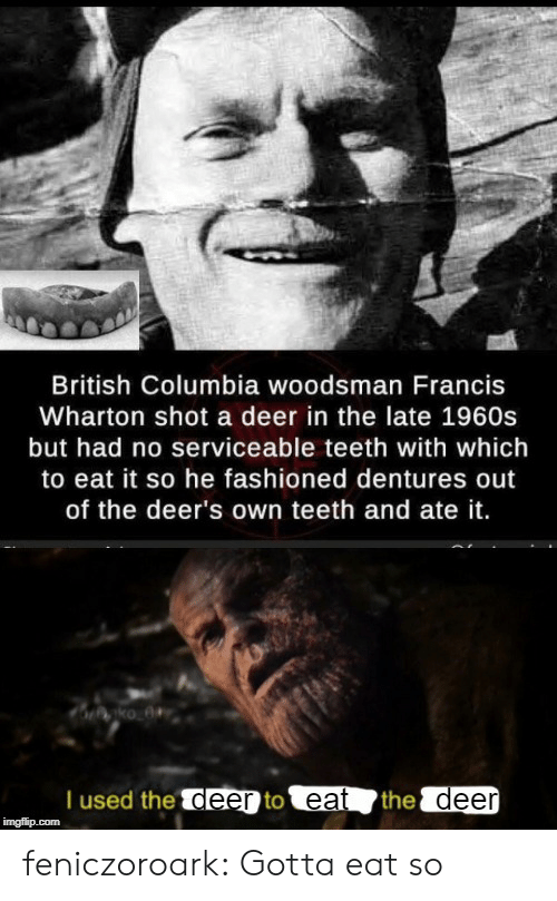 Deer: British Columbia woodsman Francis  Wharton shot a deer in the late 1960s  but had no serviceable teeth with which  to eat it so he fashioned dentures out  of the deer's own teeth and ate it.  T used the deer to eat  the deer  imgflip.com feniczoroark:  Gotta eat so