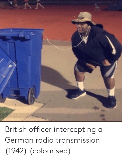 Radio, British, and German: British officer intercepting a German radio transmission (1942) (colourised)