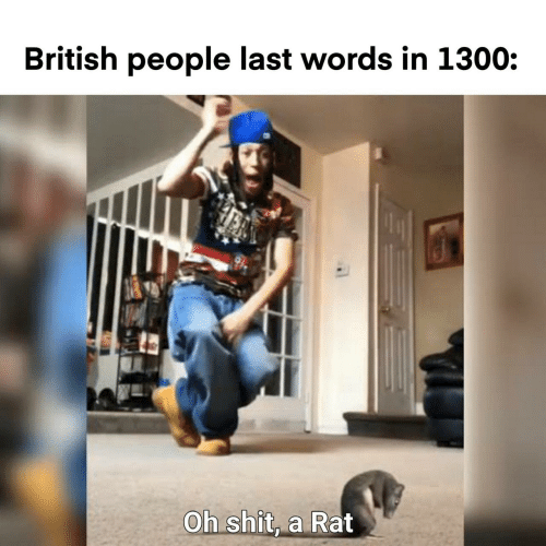 Last Words: British people last words in 1300:  Oh shit, a Rat