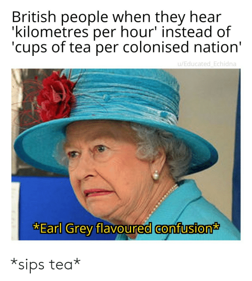 Educated: British people when they hear  'kilometres per hour' instead of  'cups of tea per colonised nation'  u/Educated_Echidna  *Earl Grey flavoured confusion *sips tea*