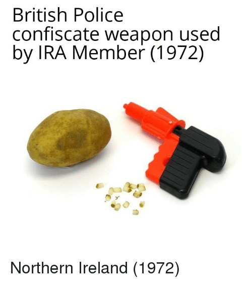 Police, Ireland, and British: British Police  confiscate weapon used  by IRA Member (1972) Northern Ireland (1972)