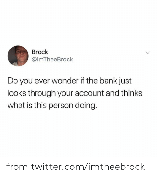 Dank, Twitter, and Brock: Brock  @ImTheeBrock  Do you ever wonder if the bank just  looks through your account and thinks  what is this person doing. from twitter.com/imtheebrock