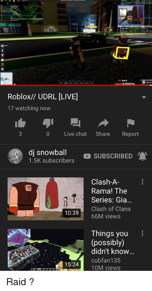 Nah B: broke H  i-  blu Nah b  les dabbatheo Sprint  Roblox// UDRL [LIVE]  17 watching now  0 Live chat Share Report  dj snowball  1.5K subscribers  O SUBSCRIBED  Clash-A  Rama! The  Series: Gia  Clash of Clans  10:3966M views  Things you  (possibly)  didn't know..  15:24cubfan135