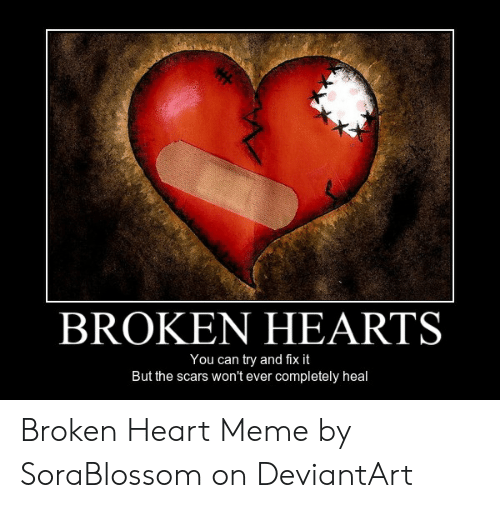 Heart Meme: BROKEN HEARTS  You can try and fix it  But the scars won't ever completely heal Broken Heart Meme by SoraBlossom on DeviantArt