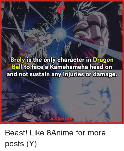sustainability: Broly is the only character in  Dragon  Ball  to face a Kamehameha head on  and not sustain any injuries or damage.  ABA nilu Le Beast!  Like 8Anime for more posts (Y)