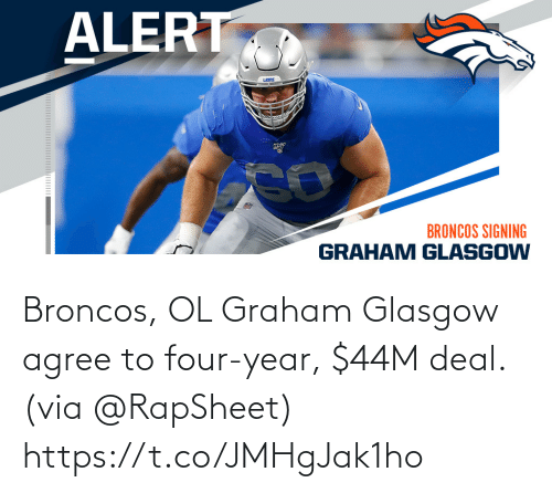 Graham: Broncos, OL Graham Glasgow agree to four-year, $44M deal. (via @RapSheet) https://t.co/JMHgJak1ho