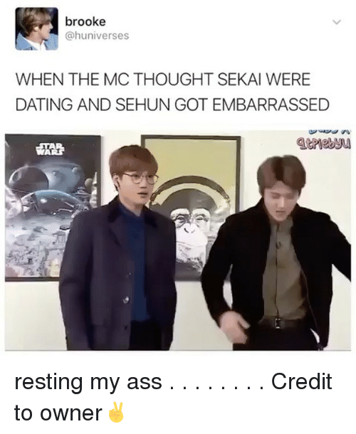 sekai: brooke  @huniverses  WHEN THE MC THOUGHT SEKAI WERE  DATING AND SEHUN GOTEMBARRASSED resting my ass . . . . . . . . Credit to owner✌