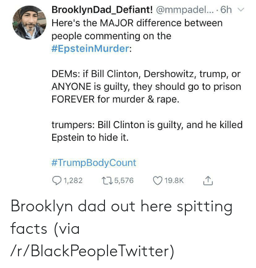 Brooklyn: BrooklynDad_Defiant! @mmpadel.... 6h  Here's the MAJOR difference between  people commenting on the  #EpsteinMurder:  DEMS: if Bill Clinton, Dershowitz, trump,  ANYONE is guilty, they should go to prison  FOREVER for murder & rape.  trumpers: Bill Clinton is guilty, and he killed  Epstein to hide it.  #TrumpBodyCount  1,282  15,576  19.8K Brooklyn dad out here spitting facts (via /r/BlackPeopleTwitter)