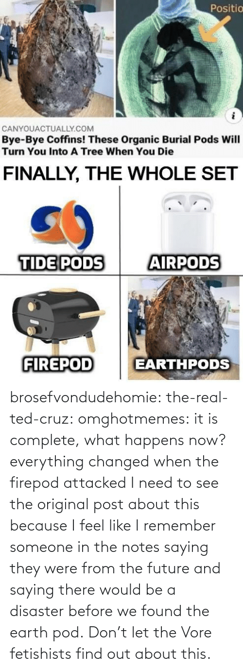 Earth: brosefvondudehomie: the-real-ted-cruz:  omghotmemes: it is complete, what happens now? everything changed when the firepod attacked    I need to see the original post about this because I feel like I remember someone in the notes saying they were from the future and saying there would be a disaster before we found the earth pod.    Don't let the Vore fetishists find out about this.