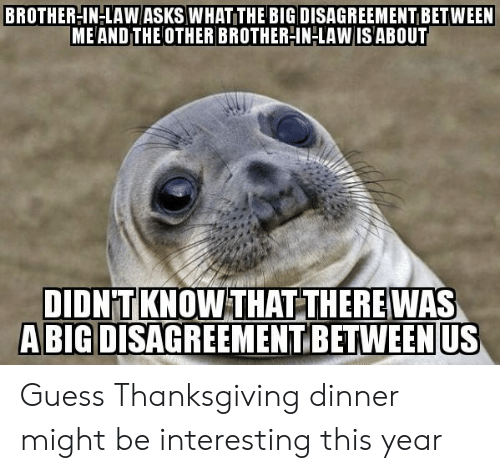 brother in law: BROTHERIN-LAW ASKS WHAT THE BIG DISAGREEMENT BETWEEN  ME AND THE OTHER BROTHER-IN-LAW IS ABOUT  DIDNTKNOW THAT THEREWAS  A BIG DISAGREEMENT BETWEEN  US Guess Thanksgiving dinner might be interesting this year