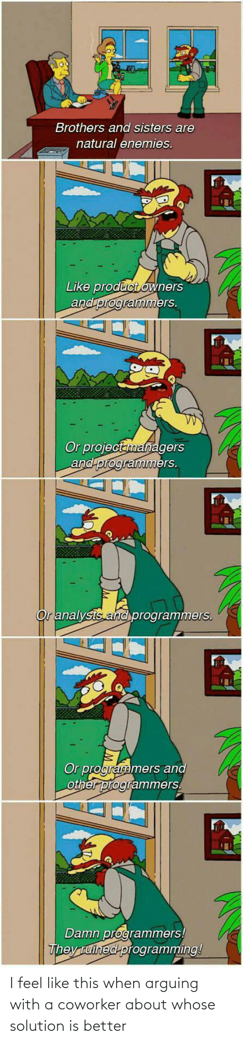 brothers: Brothers and sisters are  natural enemies.  Like product owners  and programmers.  Or projectanmanagers  and programmers.  Or analysts and programmers.  Or programmers and  other programmers.  Damn programmers!  They tuined programming! I feel like this when arguing with a coworker about whose solution is better