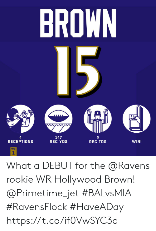 jet: BROWN  15  GAP  4  RECEPTIONS  147  REC YDS  2  REC TDS  WIN!  WK  1 What a DEBUT for the @Ravens rookie WR Hollywood Brown! @Primetime_jet  #BALvsMIA #RavensFlock #HaveADay https://t.co/if0VwSYC3a