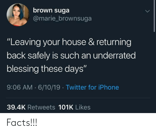 """underrated: brown suga  @marie_brownsuga  """"Leaving your house & returning  back safely is such an underrated  blessing these days""""  9:06 AM 6/10/19 Twitter for iPhone  39.4K Retweets 101K Likes Facts!!!"""