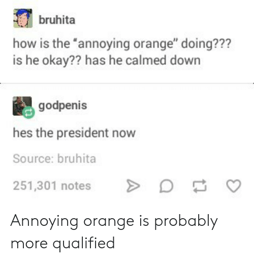 """President Now: bruhita  how is the """"annoying orange"""" doing???  is he okay?? has he calmed down  godpenis  hes the president now  Source: bruhita  251,301 notesD  C Annoying orange is probably more qualified"""