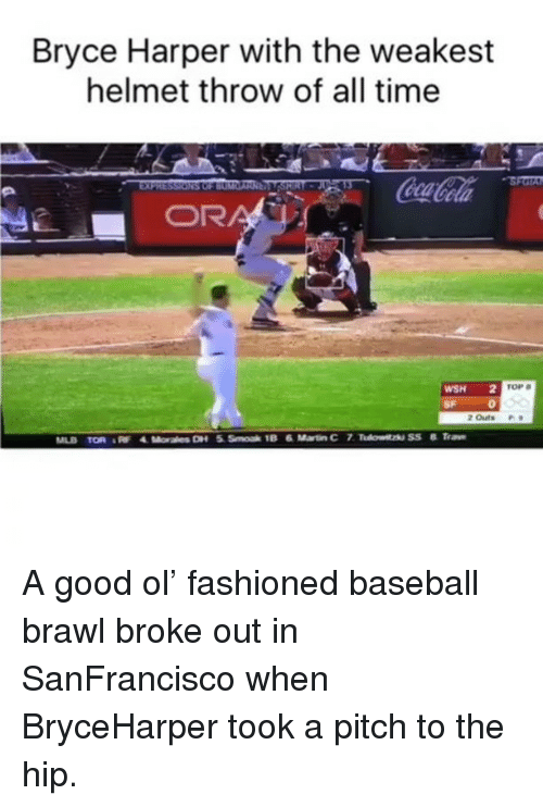 Brawle: Bryce Harper with the weakest  helmet throw of all time  WSH 2 TOP  2 outs  18 6 Martin Cr7  MLB TOR A good ol' fashioned baseball brawl broke out in SanFrancisco when BryceHarper took a pitch to the hip.