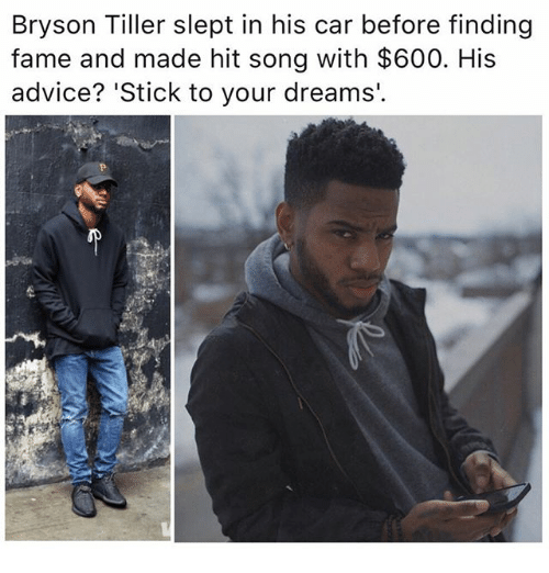 Bryson Tiller: Bryson Tiller slept in his car before finding  fame and made hit song with $600. His  advice? 'Stick to your dreams.
