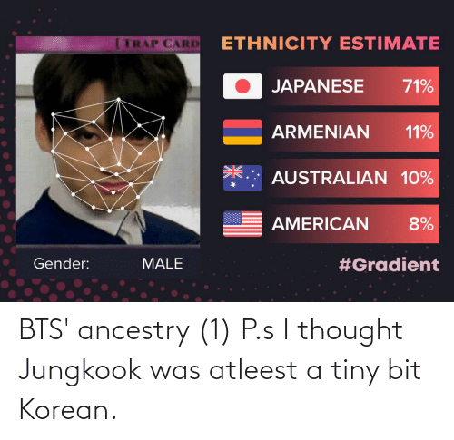 BTS: BTS' ancestry (1) P.s I thought Jungkook was atleest a tiny bit Korean.