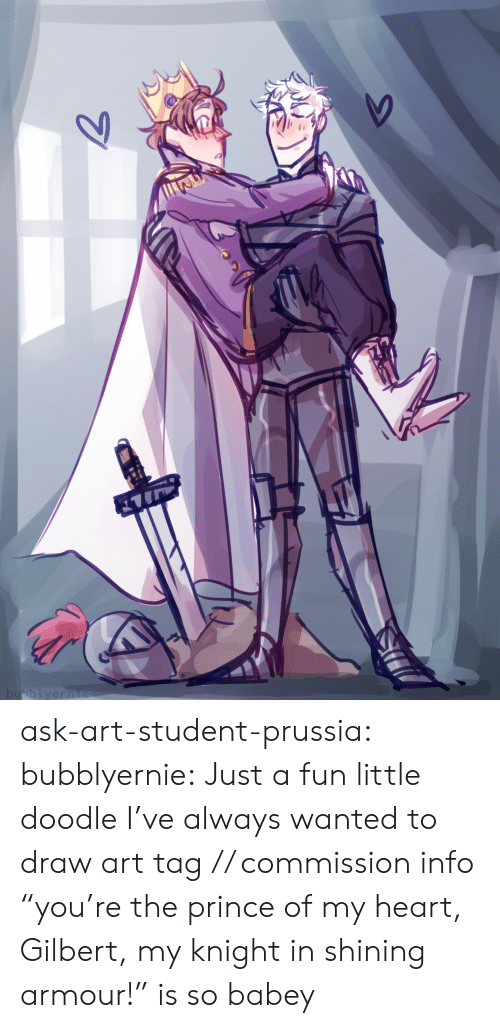 "Prince, Target, and Tumblr: bubblyernie  7 ask-art-student-prussia:  bubblyernie: Just a fun little doodle I've always wanted to draw art tag // commission info  ""you're the prince of my heart, Gilbert, my knight in shining armour!"" is so babey"